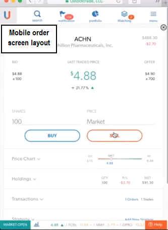 Ustocktrade Mobile Screen