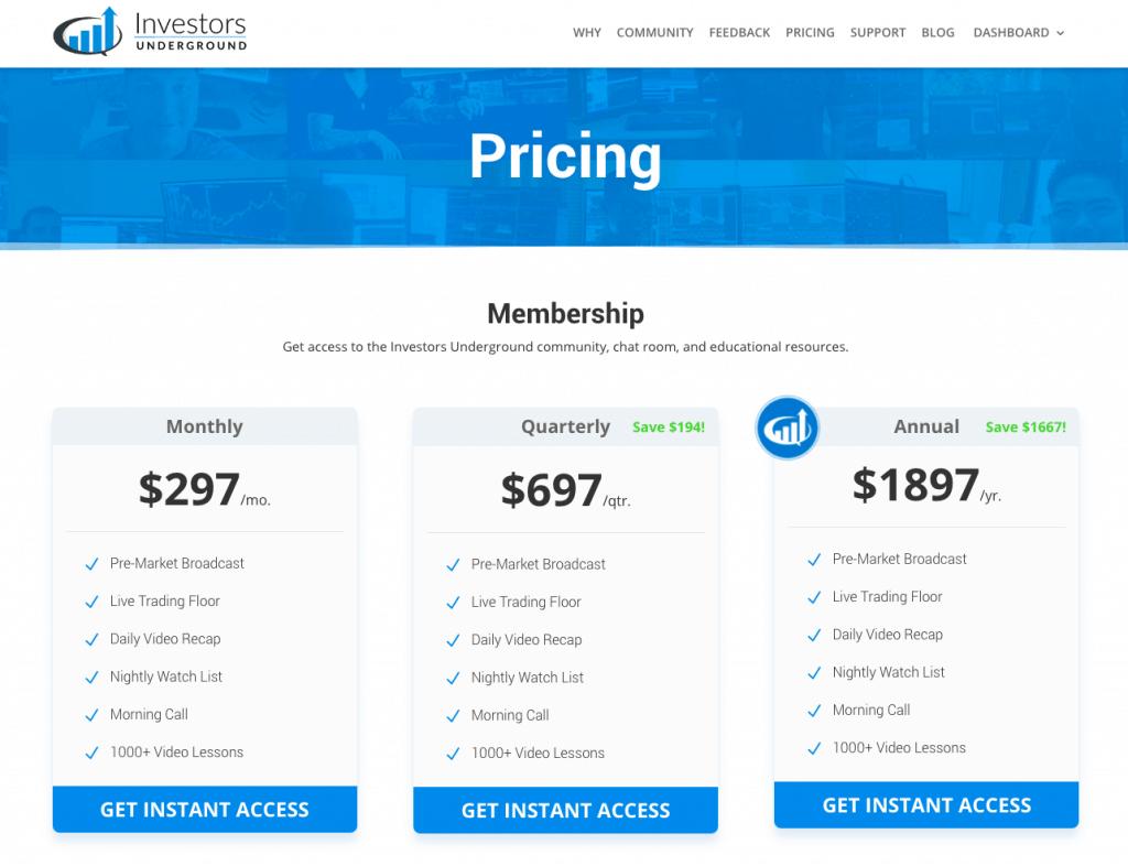 Investors Underground Pricing