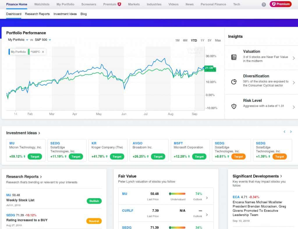 Yahoo Finance Premium Dashboard