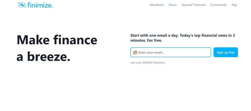 Finimize Homepage