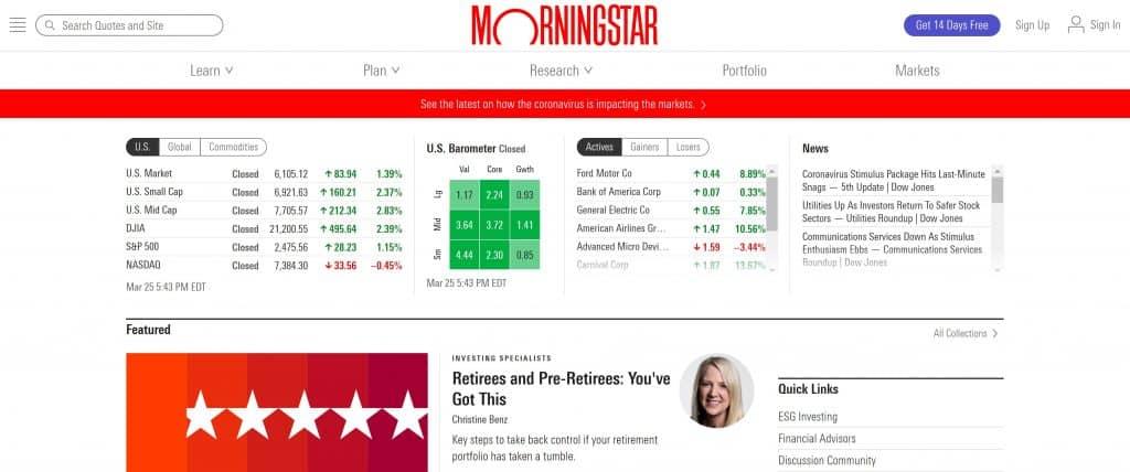 Motley Fool vs. Morningstar - Morningstar Homepage