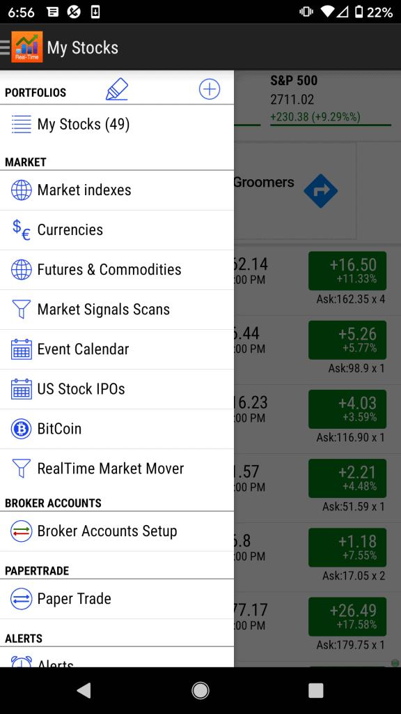 Stock Tracker Menu