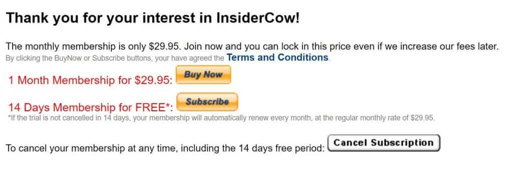 InsiderCow - Pricing