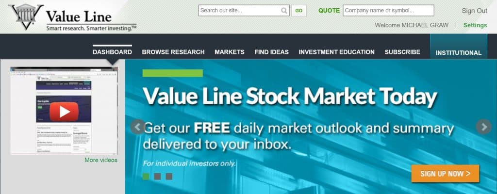 Value Line - Homepage