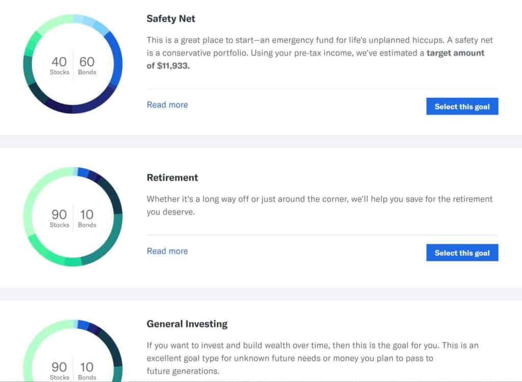 Betterment vs Wealthfront - Betterment Goals