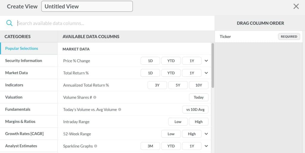Koyfin Dashboard Data Columns