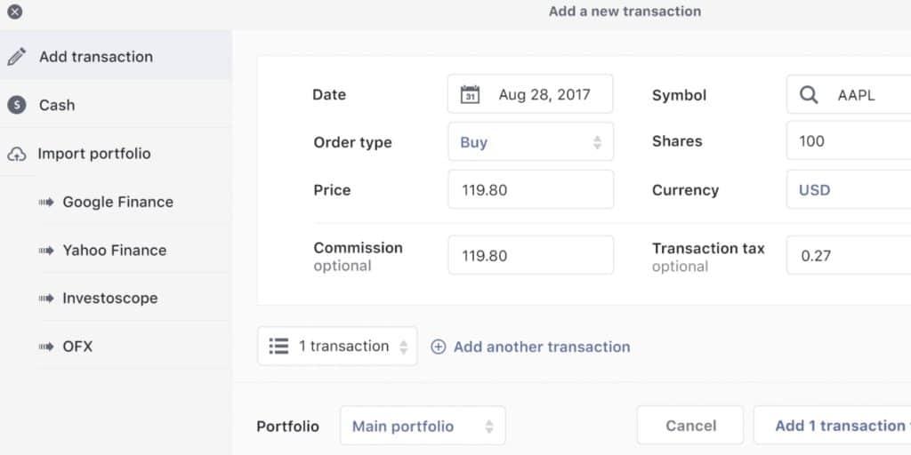 Stockfolio Add Transaction