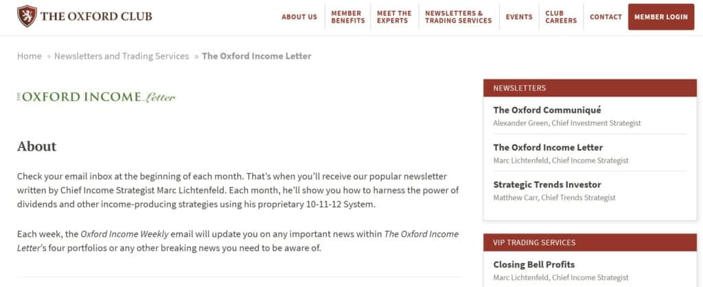 The Oxford Income Letter Homepage