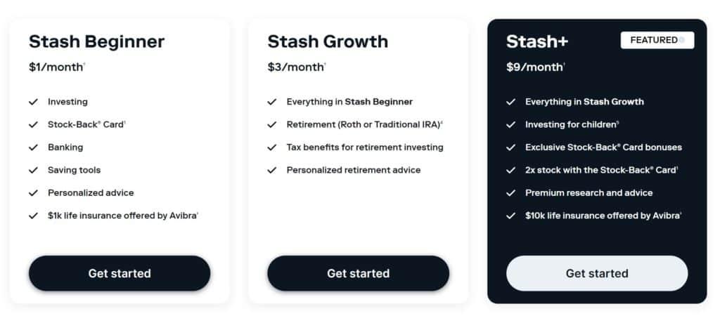 Stash vs Acorns - Stash Plans