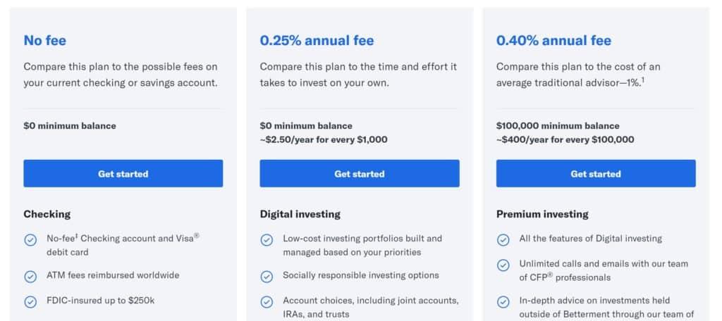 M1 Finance vs. Betterment - Betterment Pricing
