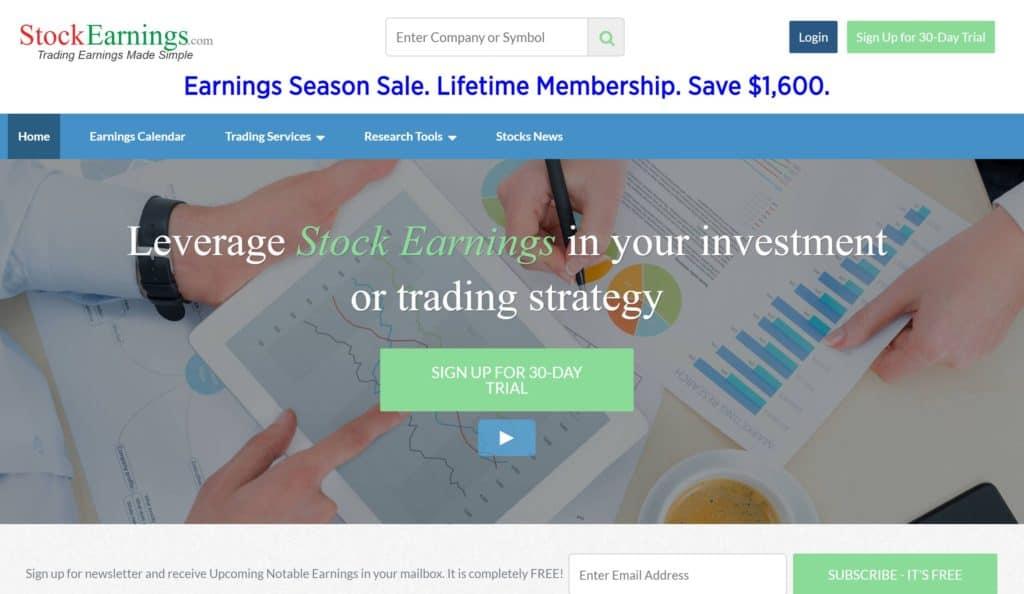 Página de inicio de StockEarnings