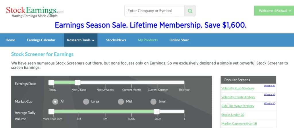 Diseño de StockEarnings.com